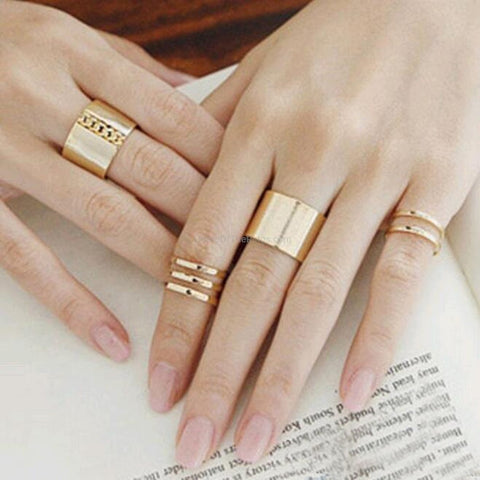3 Piece Casual Ring Set - Gold and Silver - HoardOfTheRings.com
