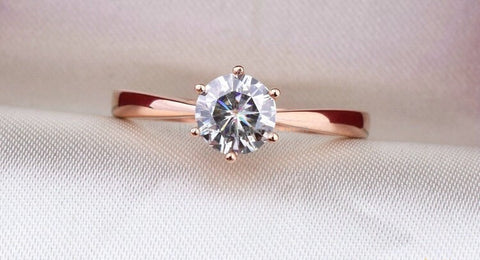 1.2 carat Rose Gold Plated Wedding Engagement Ring