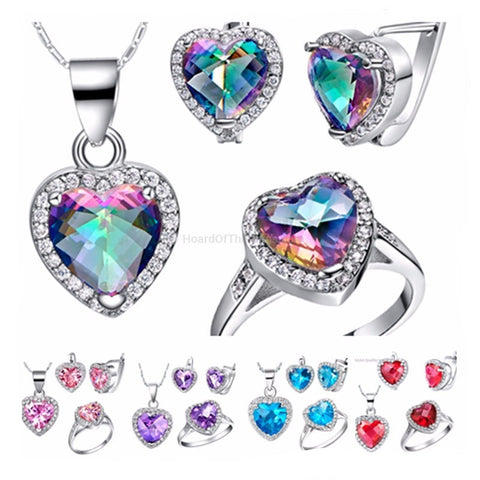 Rainbow CZ Matching Earrings + Ring + Necklace Set 925 Sterling Silver - HoardOfTheRings.com