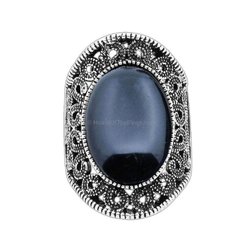 Black Antique Silver Plated Victoria Flower Oval Ring