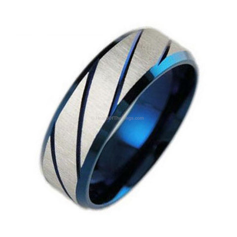 Titanium Blue Steel Mens Ring