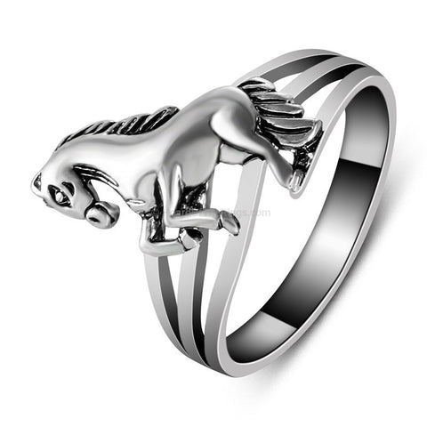 Vintage Silver Plated Horse Ring