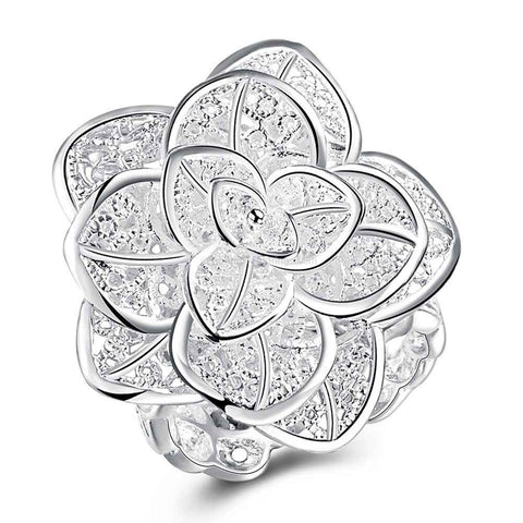 Frozen Silver Blossom Ring