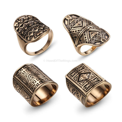4 Piece Bohemian Vintage Ring Set In Antique Gold or Silver - HoardOfTheRings.com