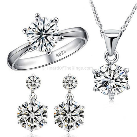 925 Sterling Silver CZ Diamond Necklace + Earrings + Ring - HoardOfTheRings.com