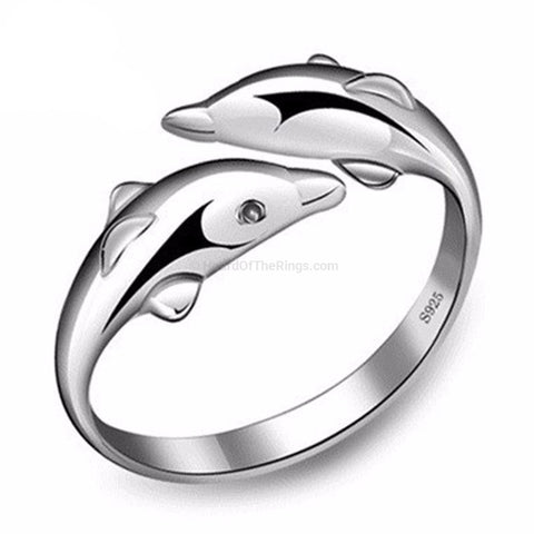 Silver Dolphin Ring With Crystal Eyes