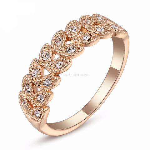 Rose Gold Beautiful Crystal 18K Leaf Ring