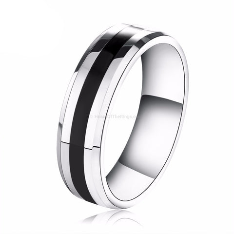 Mens Titanium Steel Black Casual Ring
