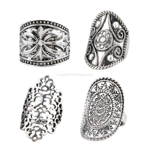 4 Piece Tibetan Silver Ring Set - HoardOfTheRings.com