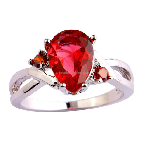Ruby Red Zirconia Pear Cut Stone In AAA Silver Ring