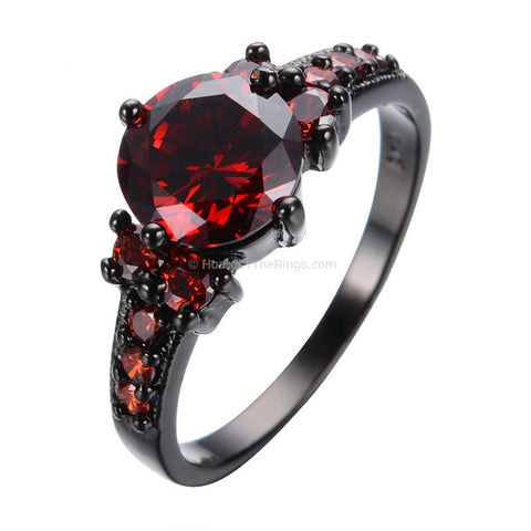 Wow! Red Stones Black Ring - HoardOfTheRings.com