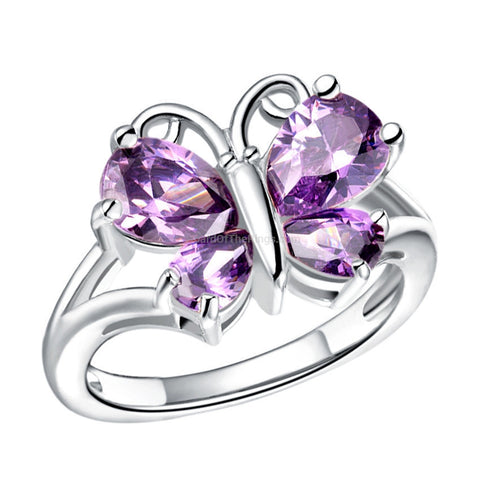The Purple Butterfly Ring - Rose Gold + Platinum - HoardOfTheRings.com