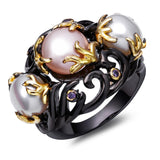 3 Stone Pearl Ring With Colored Zirconia Setting