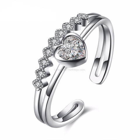 925 Sterling Silver Double Row Heart Adjustable Ring
