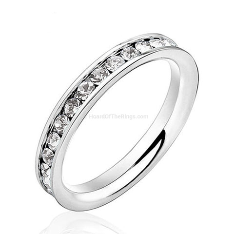 1ct Stone Eternity Ring - Multiple Color Choices - HoardOfTheRings.com