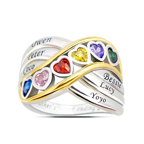 6 Name Birthstone Heart Ring Perfect For Mum or Grandma - HoardOfTheRings.com
