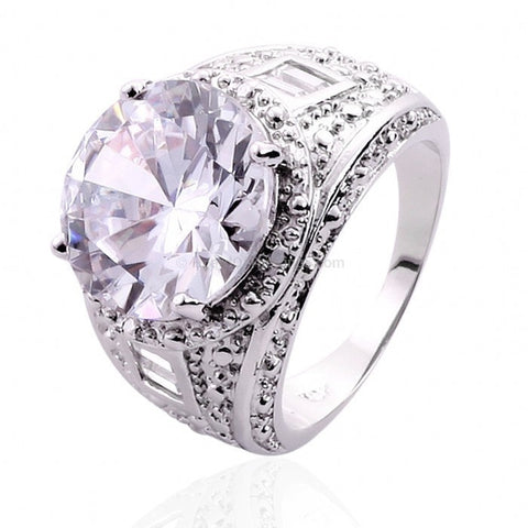 15ct CZ Silver Plated Dress Ring - HoardOfTheRings.com