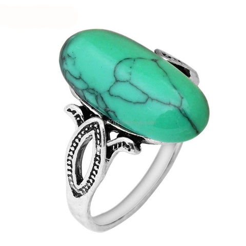Antique Silver Plated Turquoise Bead Ring
