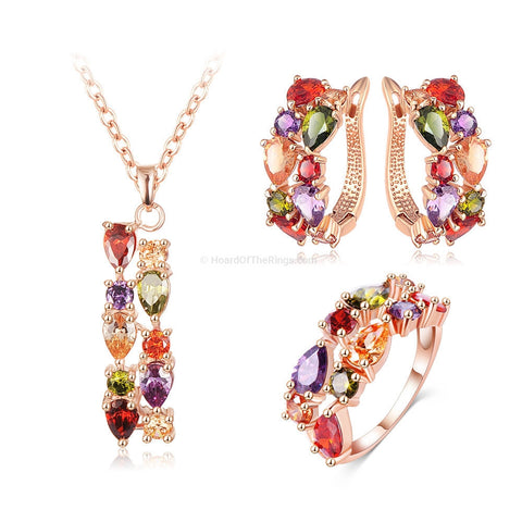 Matching Rose Gold Pendent + Earrings + Ring + Multi Coloured Stones - HoardOfTheRings.com
