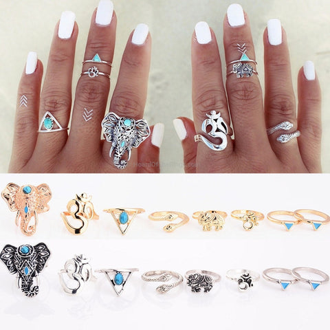 8 Piece Tribal Ring Set - Antique Gold or Vintage Silver