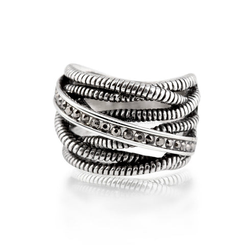 Stunning Cool Rope And Stone Ring - HoardOfTheRings.com