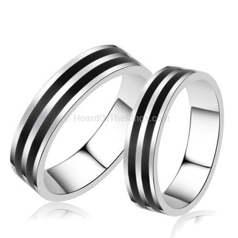 Pair of His n Hers Platinum Plated Rings - HoardOfTheRings.com