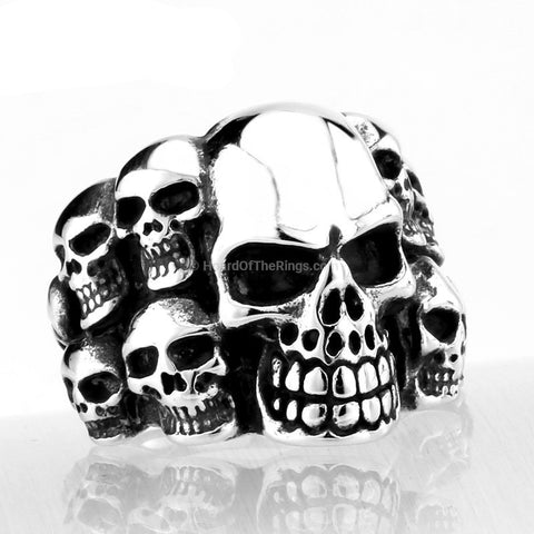 Multi Face Vintage Skull Ring
