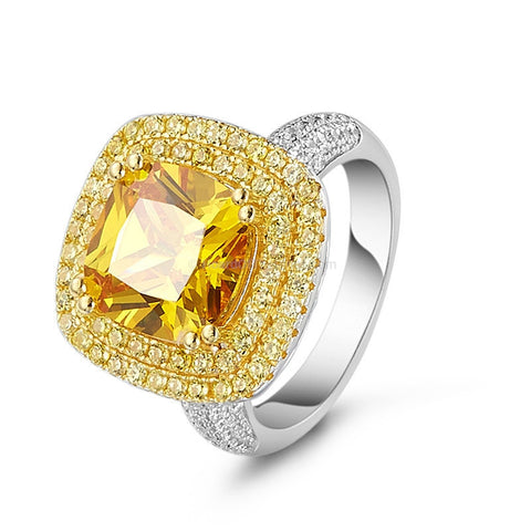 Yellow Cubic Zirconia Ring in Plated Platinum Setting and White Zirconia