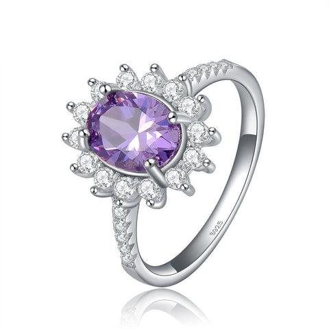 2ct Oval Cut Purple Flower Sterling Silver Ring - HoardOfTheRings.com