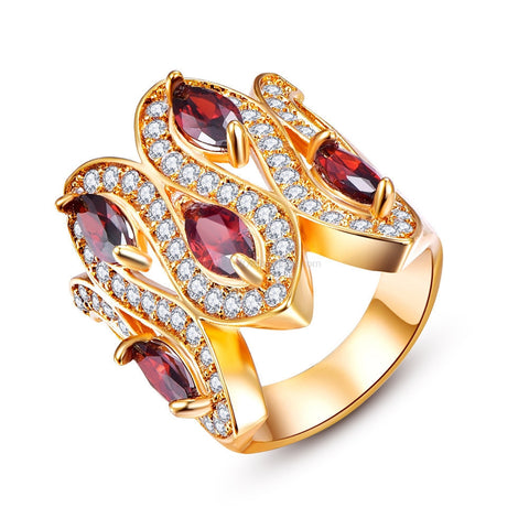 Gold, Red + White Zirconia Set In Gold Plated Crown Design