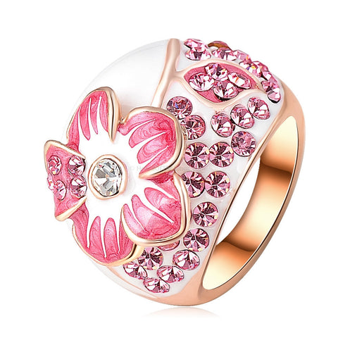 Rose Gold Plated Flower Ring + Multiple Finishes - HoardOfTheRings.com