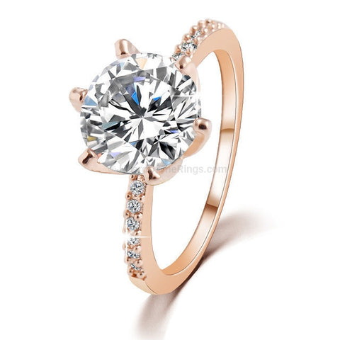 Stunning Zirconia Engagement Ring Available in Gold And Silver