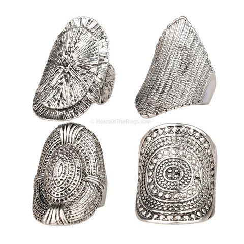 Tibetan Style 4 Piece Vintage Ring Set