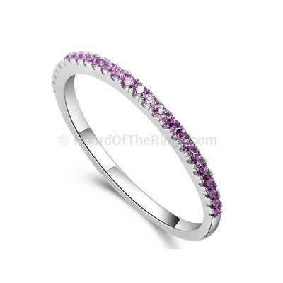 Skinny Platinum Plated Crystal Stone Eternity Ring - HoardOfTheRings.com