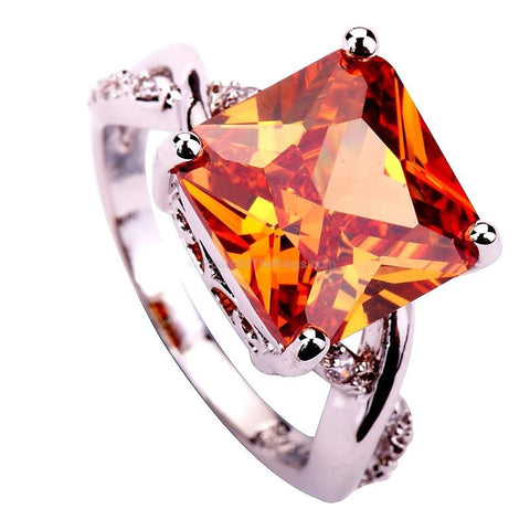 Big Gemstone Champagne Morganite Silver Plated Ring - HoardOfTheRings.com