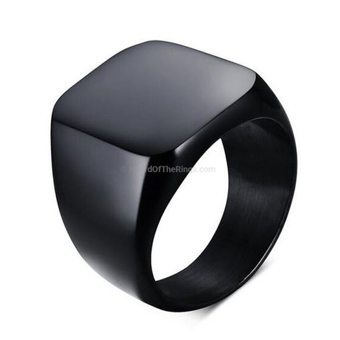 Casual Black Titanium Ring + Silver - HoardOfTheRings.com