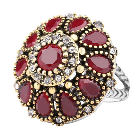 Crystal Flower Vintage Ring Available in Red or Green