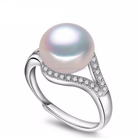 100% Natural Freshwater Pearl Ring In Sterling Silver Setting