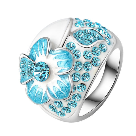 White Ceramic Blue Crystal Dress Ring With Silver Plated Band