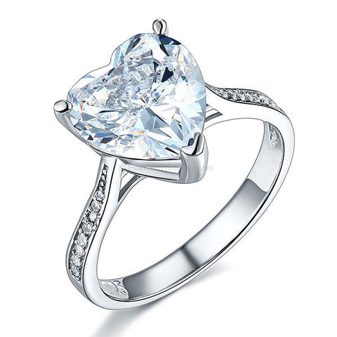 3.5ct CZ Sterling Silver Heart Ring - HoardOfTheRings.com