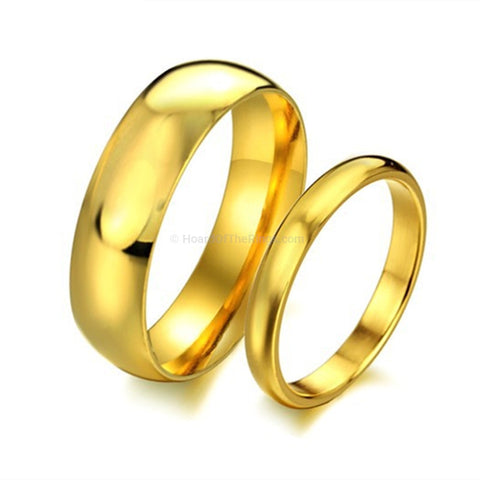 His and Hers Gold Plated Wedding Bands - HoardOfTheRings.com