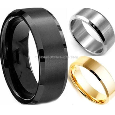 Casual Mens Ring Available in 3 Colours - Gun Black, Gold And Silver