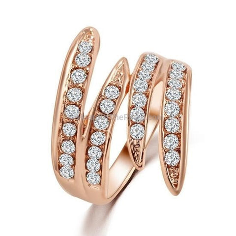Classic Twist Crystal Ring In Rose Gold + Silver