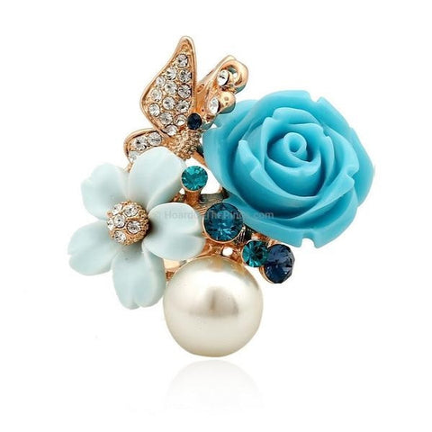 Crystal Butterfly Rose Ring With Pearl