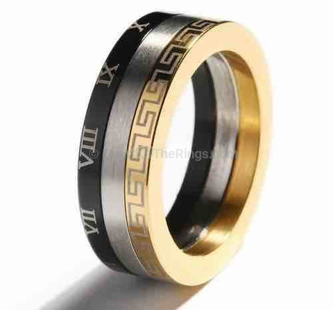 3 Band Roman Numeral Ring - HoardOfTheRings.com