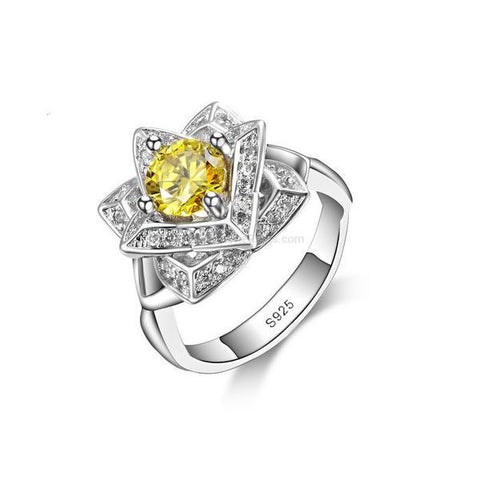 Yellow Stone Sterling Silver Ring