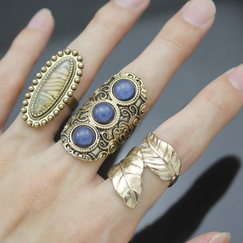 3 Piece Gold Turkish Ring Set - HoardOfTheRings.com