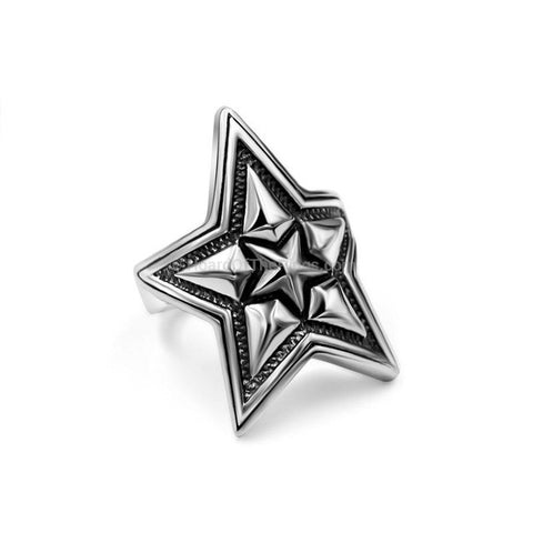Triple Pentagram Vintage Silver Ring