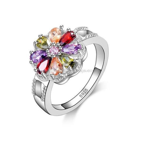 Multi Colour Petal Gemstone Flower Ring Sterling Silver Band