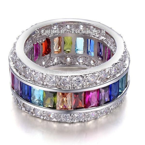 Huge 15ct Mutil-Colour CZ 925 Sterling Silver Ring - HoardOfTheRings.com